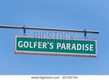 golfer's paradise road sign