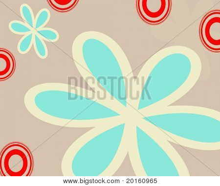 beige background with mint  petals and red circles