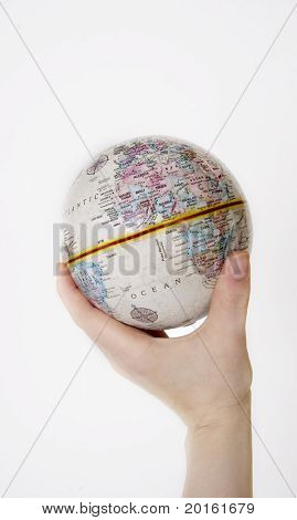 globe in hand isolated
