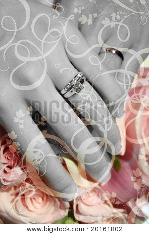 wedding hands over bouquet of flowers with special effects