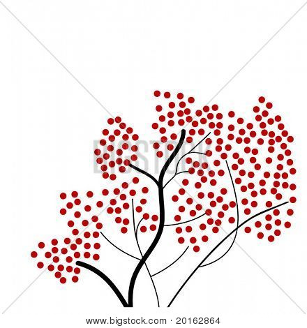 red berry tree vector