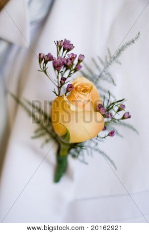 yellow rose lapel corsage