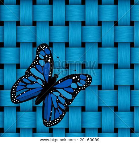 blue butterfly on blue basket weave