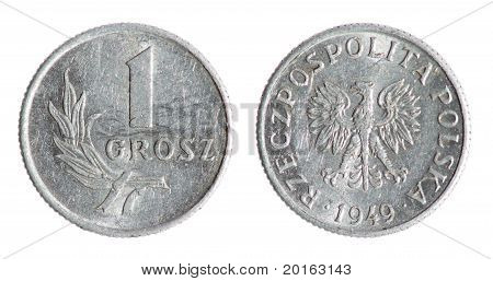 Old Polish Penny Coin
