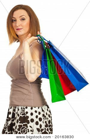 Redhead Woman Holding Shopping Bags