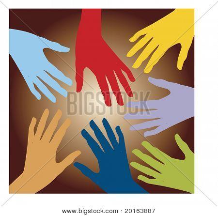 Multi manos, multi coloreada