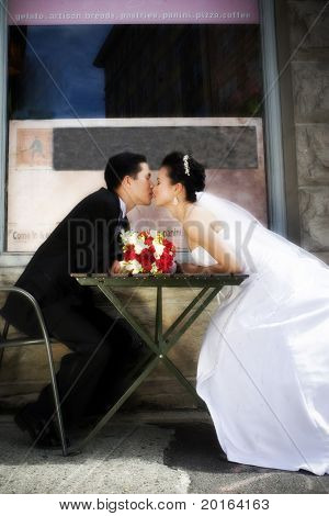 wedding couple at cafe romantic