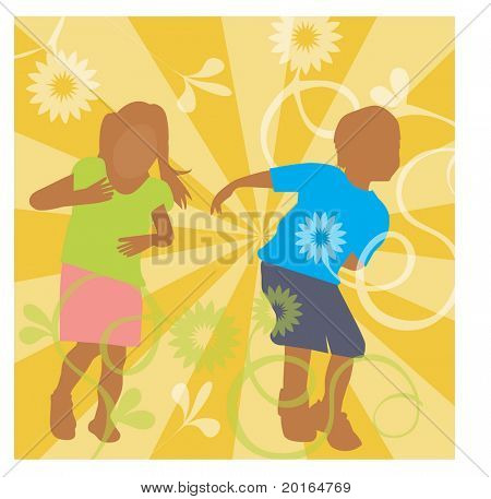 kids playing illustration