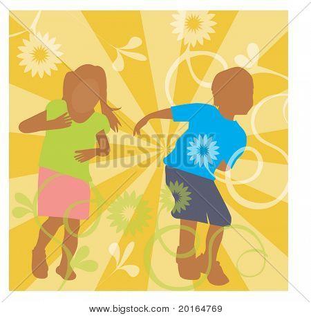kids playing illustration
