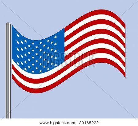 American flag blowing vector