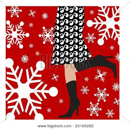 girl hurrying through the snow illustration