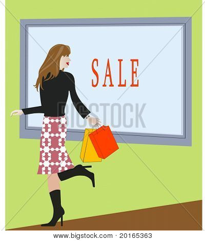 woman walking by window with word  sale