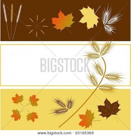 Laub und Gras in Herbstfarben mit 3 gestufte Layout mit Exemplar