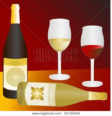 two wine glass red and white with wine bottles illustration