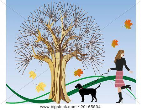 dia de outono, andando a ilustração do cão