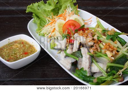 Spicy boiled fish thai style food