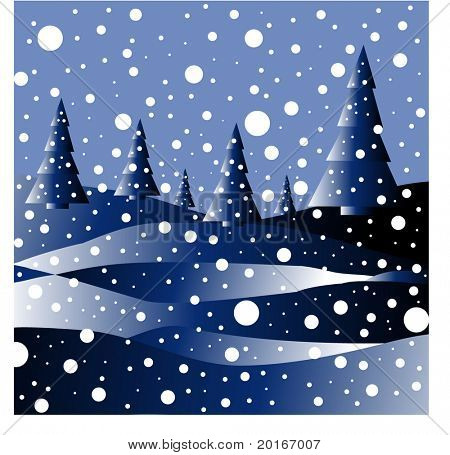 winter's night with snowfall great for christams card