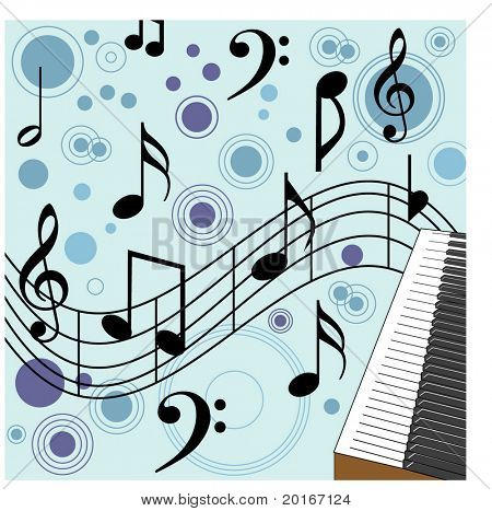 music with piano in corner illustration