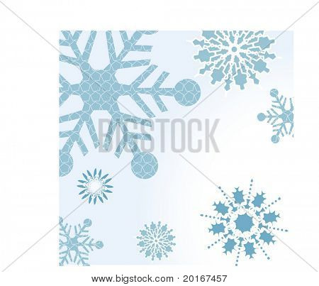 snowflakes with pattern on larger snowflake