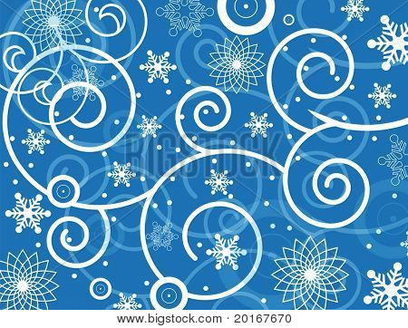 filigree coil and snow background