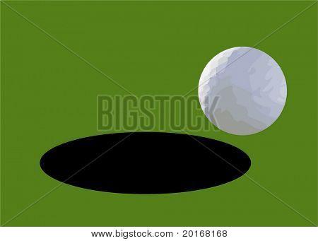 golf ball falling into hole vector