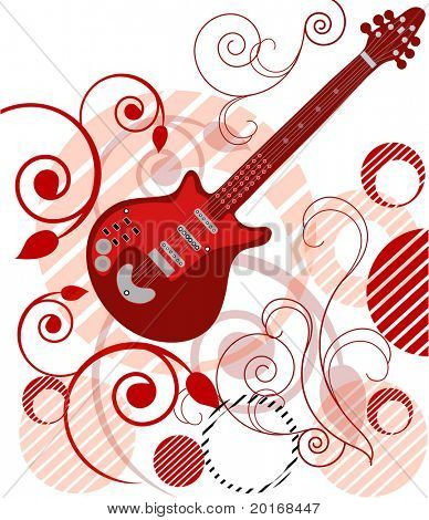 guitar with filigree and artistic background series