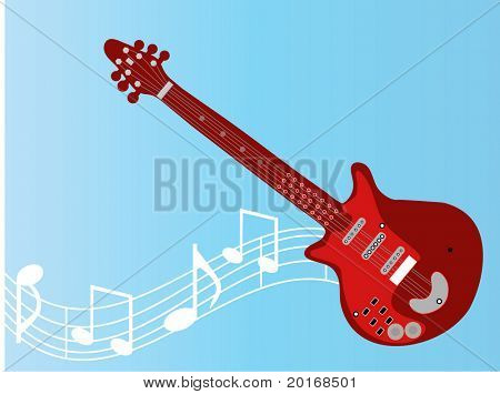 guitar with musical notes
