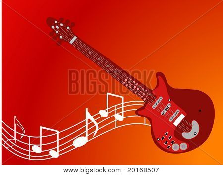 guitar with musical notes christmas red