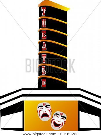 theatre marquee with drama masks illustration