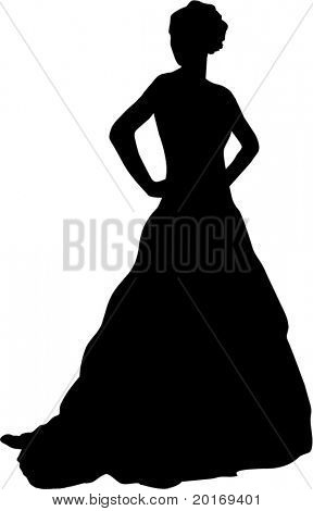 silhouette of beautiful woman in gown vector