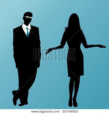 vetor negócios masculino e feminino