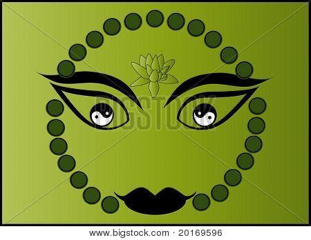 buddha face yin and yang #1 vector