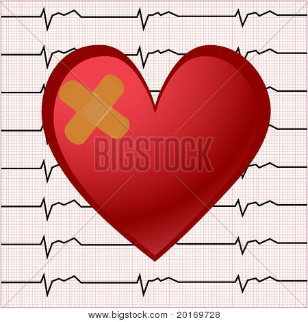 ekg  (bandaid) with smaller square chart behind vector