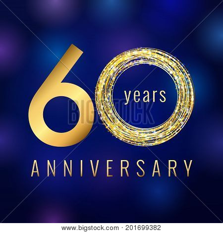60 years old luxurious numbers. Congratulations 60th vector gold ...