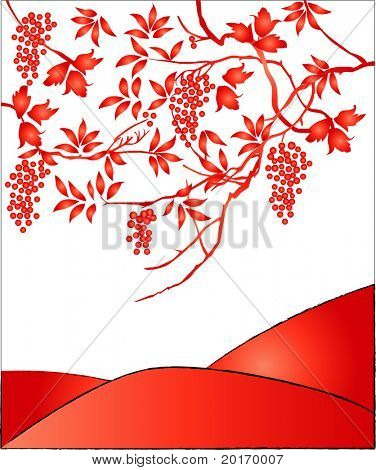 beautiful leaves and berries vector