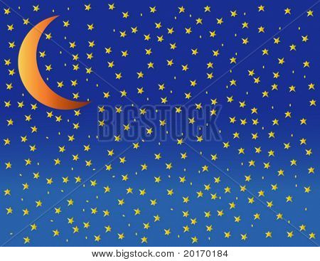 starry night with moon illustration