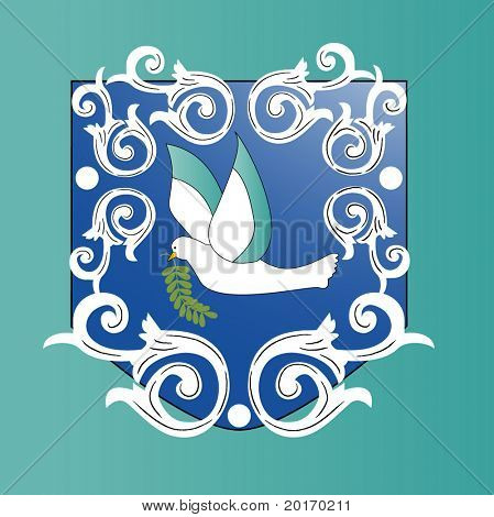 dove with scroll and crest vector