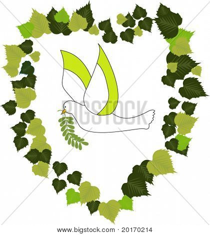 dove in leaves in heart shape vector