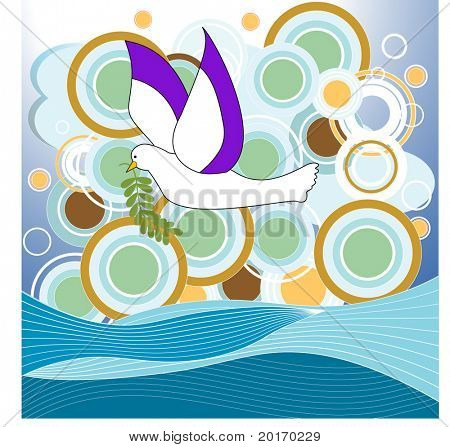 dove over water with bubbles