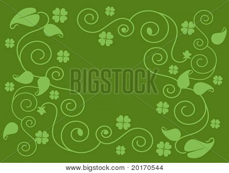 four leaf clover and filigree background