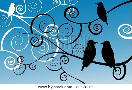 stylized birds on spiral branches