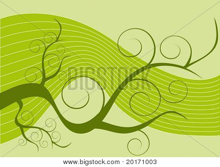 stylized spring weed coil  vector