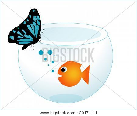 gold fish in a fishbowl with strange friend vector