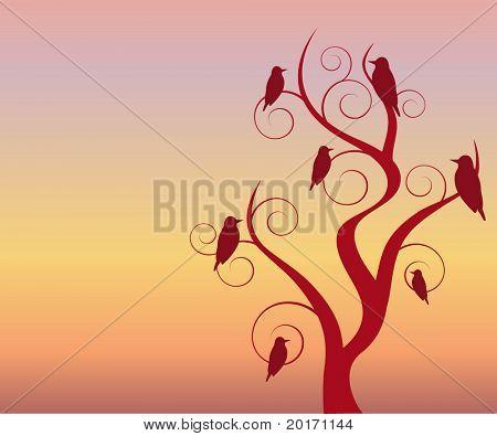 birds in  tree at twilight/dawn vector
