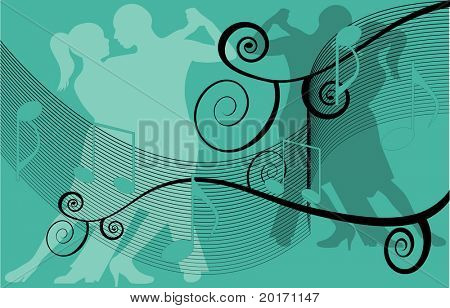 dancers with musical notes vector