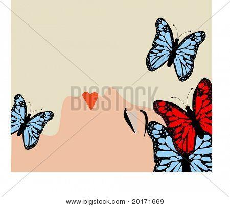 mujer con vectores de mariposas
