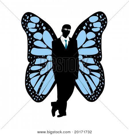 silueta de hombre con vectores de alas de mariposa