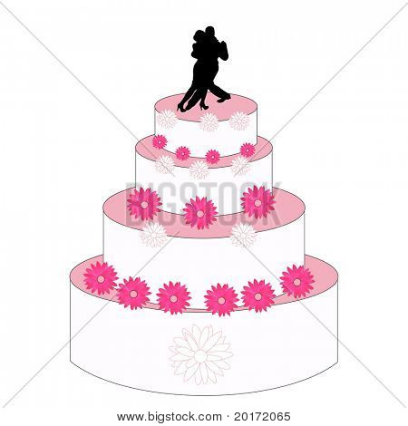 wedding cake illustration vector bride and groom dancing