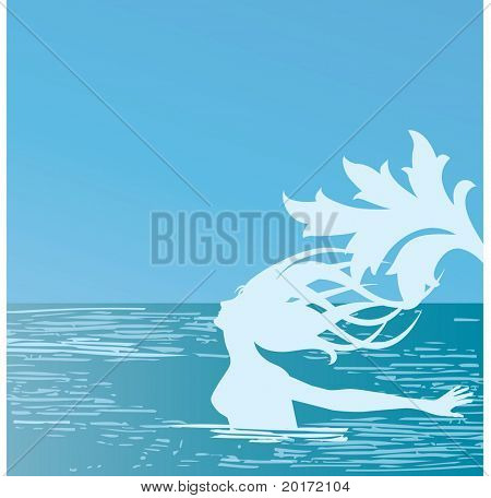 mermaid in the ocean playful freedom concept