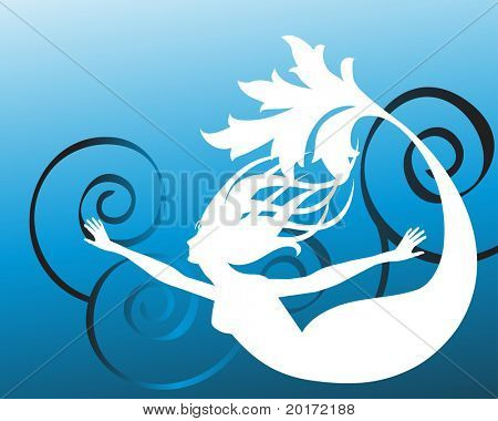 stylized freedom mermaid vector